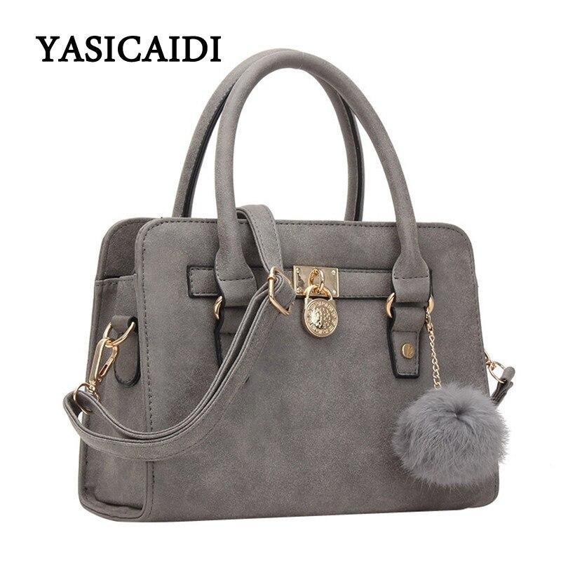 Women Handbag Shoulder Pu Leather Gray Ladies Satchel Tote Bag High Quality Brand Designer Tassel Bags Black 2017 bolsos mujer<br><br>Aliexpress