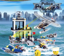 536pcs Building Blocks Maritime Police Station Helicopter DIY Toys Children's Birthday Present Intelligence Creative Plaything