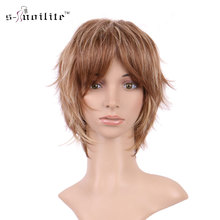 SNOILITE Women Synthetic Curly Daily Full Wigs Short Wig Ladies Cosplay Party Real Natural For Human Black Blonde Brown(China)
