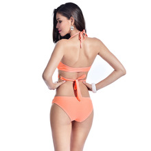 Axesea 2017 Sexy Bandage Bikini Push up Swimsuit Triangle Orange Swimwear Bathing Suit Women Beachwear for famale Bikini Set