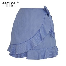 Buy FATIKA 2018 Summer New Women Fashion Ruffles Mini Skirts Female Trendy Striped High Waist Lace Short Skirts Sashes for $9.67 in AliExpress store