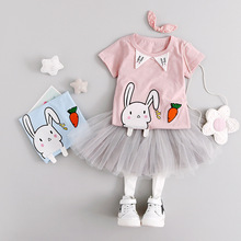2017 summer new cute Cartoon little rabbit Bunny Short Sleeve t Shirts +TUTU skirt Clothes baby girl Clothing set 0-3Years