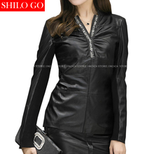 SHILO GO Fashion Street Women's V-Neck beading black long sleeves Sheepskin Genuine Leather pencil blouse Ladies Concise blouse