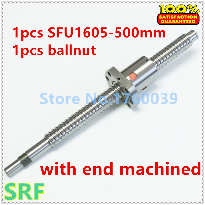 16mm Ballscrew 1605 C7 SFU1605 Rolled ball screw L=500mm with  single ball nut for CNC part BK/BF12 end processing<br>
