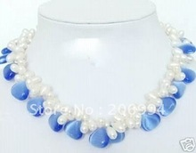 Charming design 2 Row Twist White Freshwater Pearl & Blue Opal necklace fashion jewelry,gift free shipping
