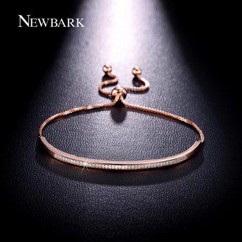 NEWBARK Top Qualité Bracelet & Bracelet pour les Femmes Captiver Bar Curseur Brillant CZ Or Rose Plaqué Bijoux Pulseira Feminina