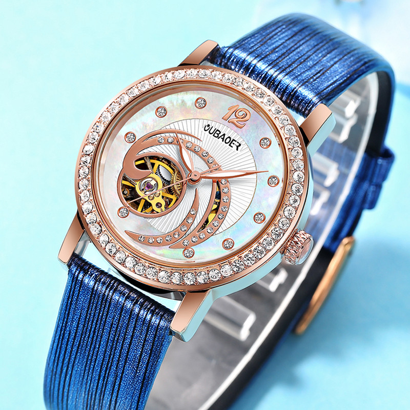 OUBAOER Female Rose Gold Automatic Self-Wind Mechanical Watches Women Genuine Leather Strap Watch Fashion Ladies Montre Femme<br>