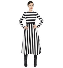 Brand Design Limited Classic Striped White and Black Woman Dress Long Sleeve Plus size dresses M L XL XXL