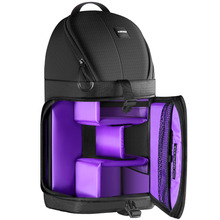 Neewer Professional Sling Camera Storage Bag Durable Waterproof Black Carrying Backpack Case for DSLR Camera  Purple Interior