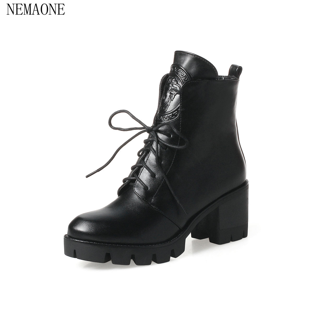 NEMAONE 2018 Women Ankle Boots Fashion Solid Black Square High Heel Round Toe Lace Up Western Style Women Boots Size 33-43<br>