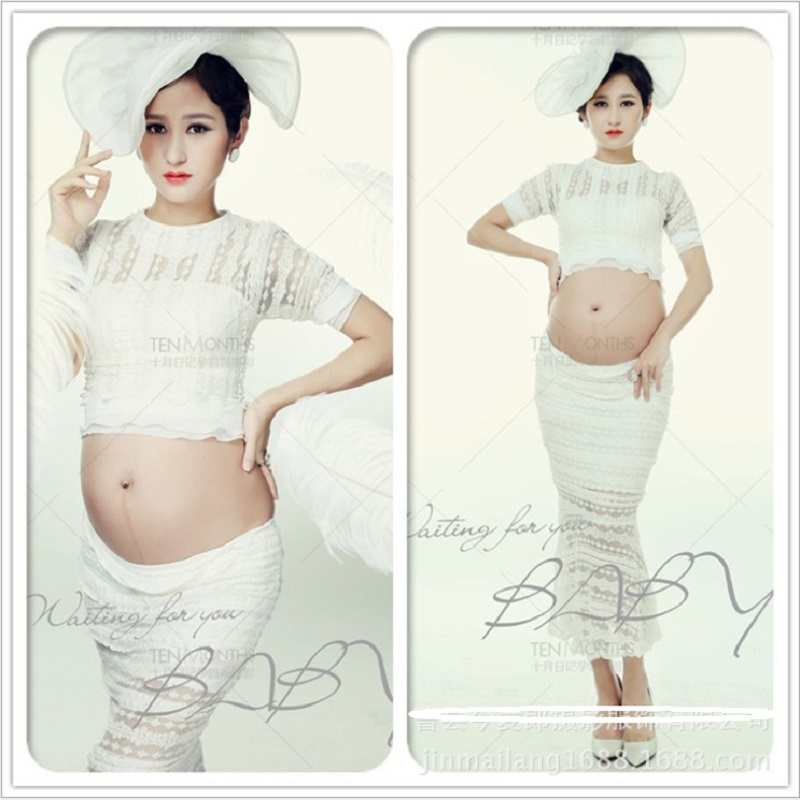 Maternity White Lace Gown Photography Props Dresses Pregnancy Pregnant Women Photo Shoot maxi Dress Baby Shower Clothes<br>