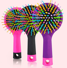 Cosmetic Makeup Mirror Purple Comb Magic Hair Brush Hair Salon Comb Rainbow Hairbrush Fashion Comb Anti-tangle Brush Massage
