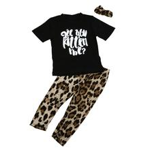 kids clothes boys 3pcs sets Toddler Baby Boys Girls Outfits Clothes Letters T-Shirt Tops+Leopard Pants Headband 3pcs sets 12M-3T