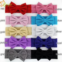 10pcs/lot Glitter Metallic Messy Bow Headbands,Jersey Knit Headwraps,Girls And Kids Gold/Silver Knott Hair Accessories