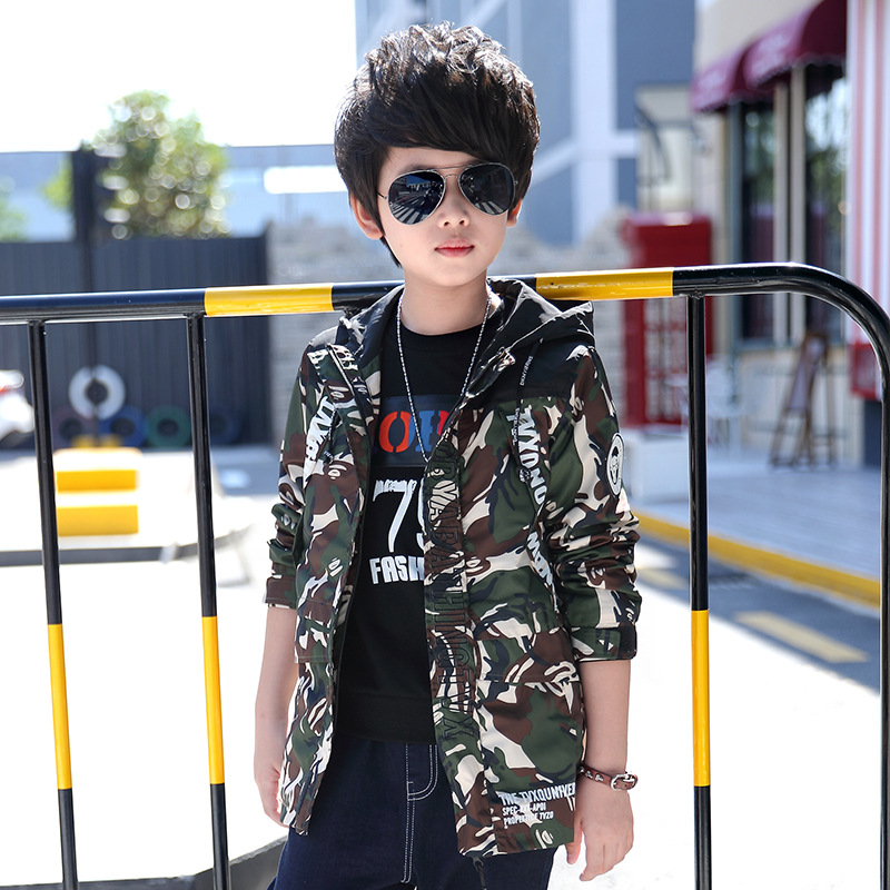 new 2017 camouflage hooded long sleeve boys jacket autumn spring coats kids boy tops children jackets 8 9 10 12 years clothing<br><br>Aliexpress