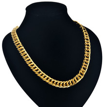 Cuban Gold Chains 9MM Mens Gold Chain Necklace 55/76CM Hiphop Vintage Long Necklace Wholesale Gold Color Big Men Jewelry