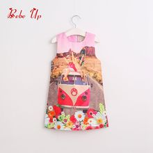 2017 Kids Girls Flower Floral Dress Children Girl 2017 Spring Fashion Clothes Lolita Style Bus Print Toddler Fashion Clothes(China)