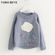 VORO BEVE 2017 new winter baby girls sweater cartoon cloud kids clothes children sweater warm for girls knitwear