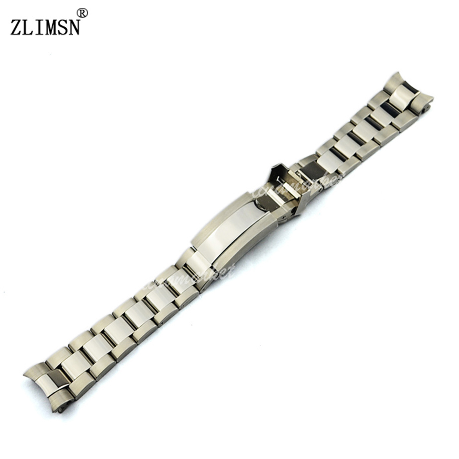 ZLIMSN Watch Band Solid Stainless Steel Silver Watchbands Bracelet Bands Polished + Brushed Finish Substitute Men Strap 20mm<br><br>Aliexpress