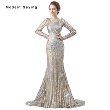 Luxury Champagne Mermaid Sparkly Evening Dresses Elegant Long Sleeve Miss Universe Dresses Party Prom Gowns vestido de festa(China)