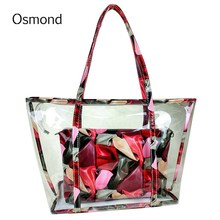 Osmond 2Pcs/Set Women's Clear Transparent Shoulder Bags Fashion Jelly Candy Summer Beach Large Capacity Handbags Colorful Totes
