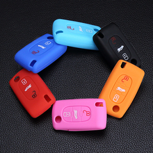 New Design Silicone Key Cover Box for Peugeot 3 button 206 207 306 307 308 407 408 Citroen C2 C3 C4 C5 Dust Collector