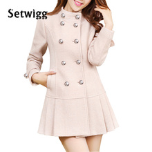 SETWIGG Women's Winter Double Breasted Cashmere Blend Dress Coat Stand Collar Golden-lined Pleated Hem Slim Wool Jacket Coat