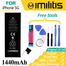 100% Original Imilitis Battery for iPhone 5 Bateria Replacement for iPhone 5G Bateria 1440mAh With Tools Moblie Phone Batteries