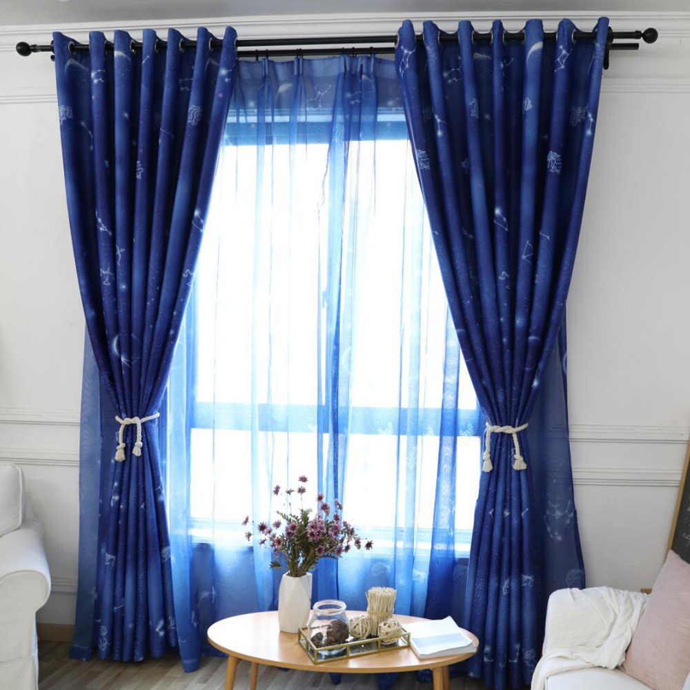 Blue Starry Sky 90% Blackout Printed Windows Curtains for Kids Room with Sheer Voile Tulle Curtains Children for Boys Room