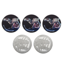 WR Velociraptor Silver Challenge Coin Jurassic Collectibles Present Case Dinosaur Commemorative Metal Coins for Birthday Gifts