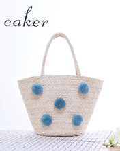 Caker Women Straw Beach Bags Summer Contrast Color Retro Handbags Lady Sweater Ball Totes Bags Quality Fashion Jumbo Bag 2017(China)