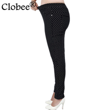 2017 Fashion Big size 6XL Pants for women Full-length Little Dot Pattern Women Pants Fat MM Pencil Pants Clothes For Female(China)