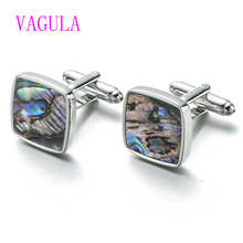 VAGULA Quality Wedding Cufflinks Natural Abalone Mother Pearl Cuff links Lawyer Groom cufflings Drop Ship 390(China)