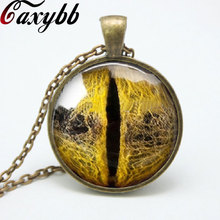 Vintage dragon eye pendant necklace Cat eye glass dome cabochon pendants necklaces Art Jewelry Gift women gift FTC-N69(China)