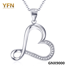 GNX9000 Genuine 925 Sterling Silver Heart Pendant Necklace New 2016 Collier Cubic Zirconia Necklace Fashion Jewelry For Women