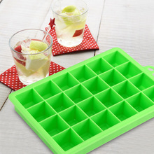 Creative DIY Big Ice Cube Mold 24 Holes Square Shape Silicone Ice Tray Fruit Ice Cube Maker Bar Kitchen Accessories 2 Color