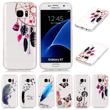 Soft TPU Transparent Feather Case for samsung S5/6/7 S6/7 Edge A310 A510 J5 J510 G360 G530 Cover Cases Cheap Phone Accessory New