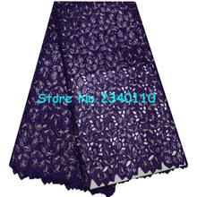Special Knitted High quality Gold Sequins African Double organza lace with hand cut ,Swiss Cotton Organza with Stones AQ1-33