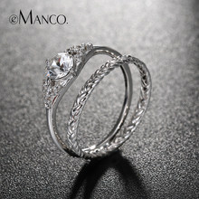 e-Manco Double Finger Rings For Couple Diamond Wedding Rings for Women Zircon Fine Jewelry Minimalist Ring Set(China)