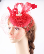 16 color millinery fascinator headwear sinamay base with birdcage veil and arrow feather wedding bridal veils race cocktail hat
