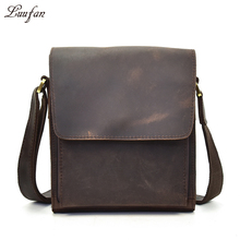 Men's vintage crazy horse leather bag iPad Cow leather shoulder bag Zip around casual crossbody bag Cowhide briefcase Purse