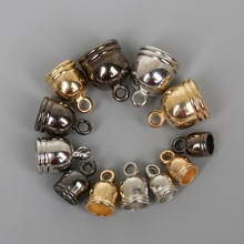 50pcs/lot CCB End Caps Clasps Fit 4 5 6 8mm Leather Cord Gunmetal/Gold/Rhodium Crimp Beads End Caps for DIY Jewelry Findings