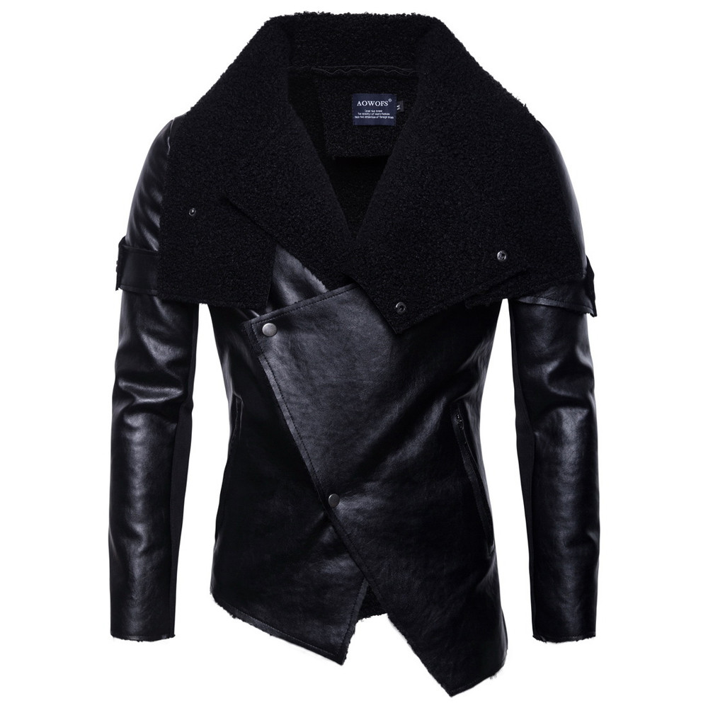 Fashion  Autumn Winter New Warm Leather Personality Collar Coat leather jacket men waterproof windproof windbreaker #4N07 #F