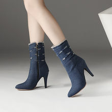 PXELENA Sexy Stiletto High Heels Denim Boots Women Retro Rome Holes Fashion  Ankle Boots Ladies Shoes Blue 2018 Winter New 34-43 172c18069083