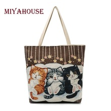 Miyahouse Cute Cats Print Canvas Shoulder Bag Women Large Capacity Embroidery Handbag Female Shopping Bag Summer Beach Bag Lady(China)