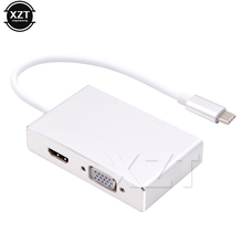 2018 Newest 4 in1 Multi-function Adapter USB 3.1 Type C to HDMI+VGA+DVI+USB3.0 Female Adapter Converter for Macbook(China)