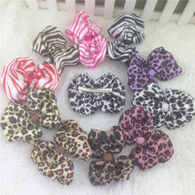 New 3.5-4inch Printed Animal Satin Bows With Clip for Accessory Zebra And Leopard Pattern Hair Ribbon Bows for Kids 30pcs/lot