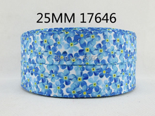 "(5yds per roll) 5Y17646 1"" flowers series high quality printed polyester ribbon, DIY handmade materials, wedding gift wrap(China)"