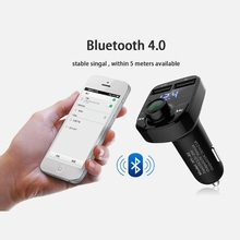 Super Bluetooth Car Kit Handsfree Set Car Kit Bluetooth FM Transmitter MP3 Player 5V 4.1A Dual USB Car Charger Micro SD Card