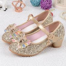 Children's Sequins Shoes Enfants 2016 Baby Girls Wedding Princess Kids High Heels Dress Party Shoes For Girl Pink Blue Gold 540d(China)